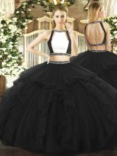 Top Selling Tulle Sleeveless Floor Length Ball Gown Prom Dress and Ruffled Layers
