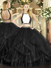 Great Black Backless Quinceanera Dresses Ruffles Sleeveless Floor Length