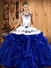 Royal Blue Sleeveless Floor Length Embroidery and Ruffles Lace Up Sweet 16 Dresses