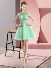 Vintage Apple Green Zipper Dress for Prom Beading and Bowknot Sleeveless Mini Length