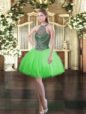 Customized Ball Gowns Beading Dress for Prom Lace Up Tulle Sleeveless Mini Length