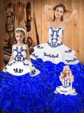 Royal Blue Ball Gowns Embroidery and Ruffles 15 Quinceanera Dress Lace Up Tulle Sleeveless Floor Length