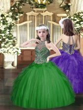 Sleeveless Floor Length Beading and Ruffles Lace Up Little Girl Pageant Dress with Dark Green
