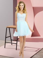Elegant Light Blue Empire Beading and Lace Quinceanera Court of Honor Dress Side Zipper Tulle Sleeveless Mini Length