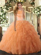 Cute Orange Halter Top Backless Beading and Ruffles Vestidos de Quinceanera Sleeveless