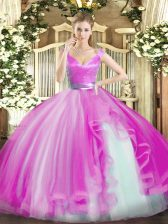 Fashionable Hot Pink Sleeveless Tulle Zipper Ball Gown Prom Dress for Military Ball and Sweet 16 and Quinceanera