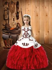 Glorious Red Lace Up Kids Formal Wear Embroidery and Ruffles Sleeveless Floor Length