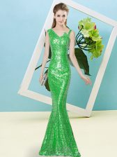Asymmetric Sleeveless Prom Gown Floor Length Sequins Green Sequined