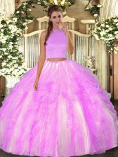 Superior Halter Top Sleeveless Organza Quince Ball Gowns Beading and Ruffles Backless