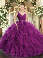 Fuchsia Ball Gowns V-neck Sleeveless Organza Floor Length Backless Beading Ball Gown Prom Dress