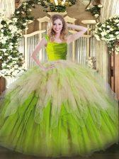 Floor Length Multi-color Sweet 16 Quinceanera Dress Straps Sleeveless Zipper