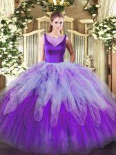 Floor Length Multi-color 15th Birthday Dress Scoop Sleeveless Side Zipper