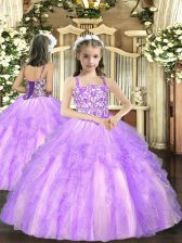 Lavender Lace Up Straps Beading and Ruffles Kids Pageant Dress Tulle Sleeveless