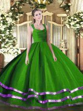 Pretty Ball Gowns Ball Gown Prom Dress Green Straps Tulle Sleeveless Floor Length Zipper