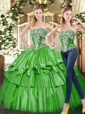 Sexy Green Ball Gowns Tulle Strapless Sleeveless Beading and Ruffled Layers Floor Length Lace Up Sweet 16 Dress
