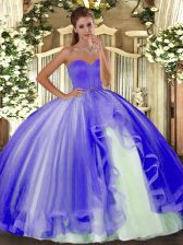 Sweet Sleeveless Tulle Floor Length Lace Up Quinceanera Dresses in Lavender with Beading