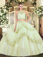 Yellow Green Sleeveless Floor Length Beading and Appliques Zipper Quinceanera Dress