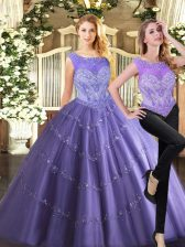 Beauteous Sleeveless Tulle Floor Length Zipper Quinceanera Gown in Lavender with Beading