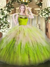 Glamorous Sleeveless Floor Length Beading and Ruffles Zipper Quinceanera Gowns with Multi-color