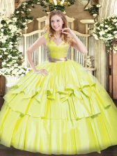 Artistic Sleeveless Beading and Ruffled Layers Zipper Quinceanera Gown