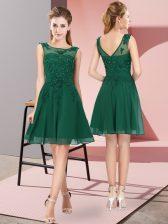 Fabulous Scoop Sleeveless Zipper Dama Dress for Quinceanera Dark Green Chiffon