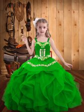 Green Straps Neckline Embroidery and Ruffles Little Girls Pageant Dress Sleeveless Lace Up