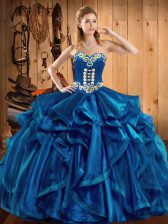 Stunning Sleeveless Embroidery and Ruffles Lace Up Quinceanera Gowns