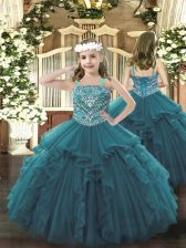 Straps Sleeveless Lace Up Little Girls Pageant Gowns Teal Organza