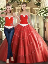 Low Price Beading Sweet 16 Quinceanera Dress Coral Red Lace Up Sleeveless Floor Length