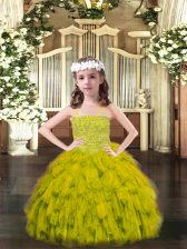 Custom Made Organza Spaghetti Straps Sleeveless Lace Up Beading and Ruffles Pageant Dress Wholesale in Olive Green
