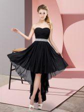 Amazing Black Chiffon Lace Up Vestidos de Damas Sleeveless High Low Beading