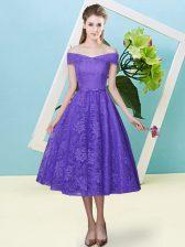 Luxurious Lavender Lace Lace Up Quinceanera Court Dresses Cap Sleeves Tea Length Bowknot
