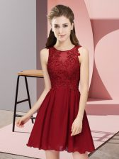 Trendy Wine Red Scoop Neckline Appliques Dama Dress for Quinceanera Sleeveless Zipper