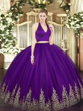 Dark Purple Sleeveless Tulle Zipper Quinceanera Dresses for Military Ball and Sweet 16 and Quinceanera