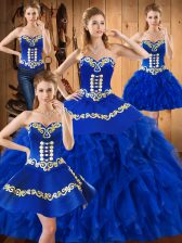 Fancy Floor Length Ball Gowns Sleeveless Blue Quinceanera Dresses Lace Up