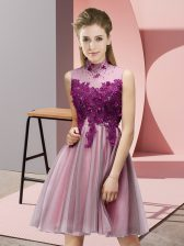 Empire Dama Dress for Quinceanera Baby Pink High-neck Tulle Sleeveless Mini Length Lace Up