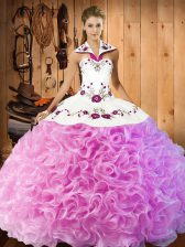 Rose Pink Ball Gowns Halter Top Sleeveless Fabric With Rolling Flowers Floor Length Lace Up Embroidery Sweet 16 Dress