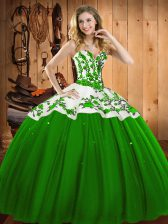 Floor Length Ball Gowns Sleeveless Green Sweet 16 Dresses Lace Up