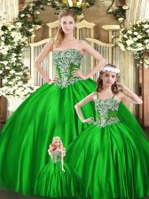 Custom Fit Strapless Sleeveless Lace Up Quinceanera Gown Green Organza
