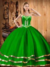 Custom Design Floor Length Lace Up 15 Quinceanera Dress Dark Green for Military Ball and Sweet 16 and Quinceanera with Embroidery