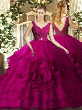 Floor Length Fuchsia Quince Ball Gowns Organza Sleeveless Beading and Ruching