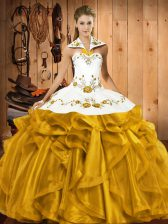 Ball Gowns Quinceanera Dress Gold Halter Top Satin and Organza Sleeveless Floor Length Lace Up