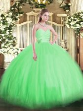 Fashionable Tulle Sweetheart Sleeveless Lace Up Beading Quinceanera Dress in Green
