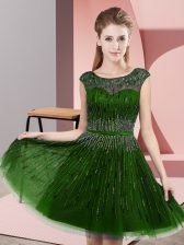 Modest Green Scoop Backless Beading Homecoming Dress Sleeveless