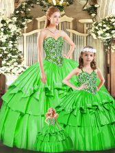Floor Length Lace Up Sweet 16 Dresses Green for Military Ball and Sweet 16 with Beading and Ruffled Layers