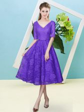Purple Dama Dress Prom and Party and Wedding Party with Bowknot V-neck Half Sleeves Lace Up