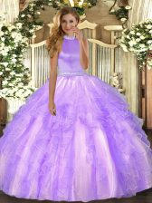 Latest Lavender Organza Backless Halter Top Sleeveless Floor Length Quince Ball Gowns Beading and Ruffles