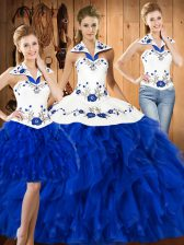 Eye-catching Blue And White Halter Top Lace Up Embroidery Sweet 16 Dress Sleeveless