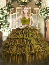 Artistic Halter Top Sleeveless Zipper Quince Ball Gowns Olive Green Organza