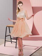 Fashionable Orange Red Side Zipper Scoop Lace and Bowknot Vestidos de Damas Chiffon Sleeveless
